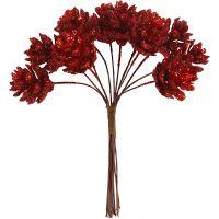 Pigne artificiali, diam: 20 mm, rosso natalizio, 12 pz/ 1 conf.