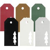 Etichette regalo, albero di Natale, misura 5x10 cm, il contenuto può variare , 300 g, 6x15 pz/ 1 conf.
