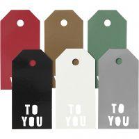Etichette regalo, TO YOU, misura 5x10 cm, 300 g, 6x15 pz/ 1 conf.