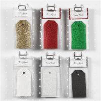 Etichette regalo, misura 5x10 cm, glitter, 300 g, 6x10 conf./ 1 conf.