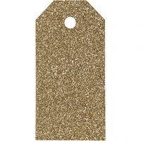 Etichette regalo, misura 5x10 cm, glitter, 300 g, oro, 15 pz/ 1 conf.