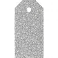 Etichette regalo, misura 5x10 cm, glitter, 300 g, argento, 15 pz/ 1 conf.