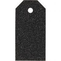 Etichette regalo, misura 5x10 cm, glitter, 300 g, nero, 15 pz/ 1 conf.