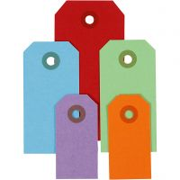Etichette regalo, misura 3x6+4x8+5x10 cm, 220 g, colori asst., 500 pz/ 1 conf.