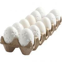 Uovo, rilievo, H: 6 cm, bianco, 12 pz/ 1 conf.