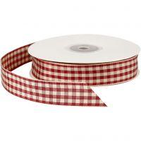 Nastro quadrettato, L: 20 mm, rosso antico/bianco, 25 m/ 1 rot.