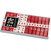 Collezione di nastri, L: 10 mm, armonia rosso/bianco, 12x1 m/ 1 conf.