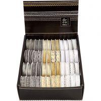 Nastro decorativo, L: 5-10 mm, oro, argento, bianco, 48x2 m/ 1 conf.