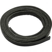 Striscia di cuoio, L: 10 mm, spess. 3 mm, nero, 2 m/ 1 conf.
