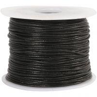 Corda di cuoio, spess. 1 mm, nero, 50 m/ 1 rot.