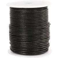 Corda di cuoio, spess. 2 mm, nero, 50 m/ 1 rot.