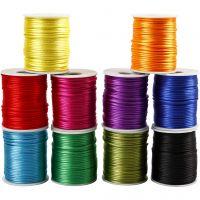 Corda di raso, spess. 2 mm, colori forti, 10x50 m/ 1 conf.