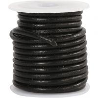 Corda di cuoio, spess. 3 mm, nero, 5 m/ 1 rot.