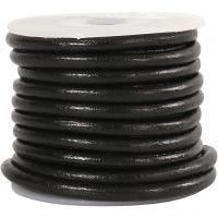 Corda di cuoio, spess. 4 mm, nero, 5 m/ 1 rot.
