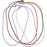 Collana elastica con chiusura, L: 46 cm, spess. 1,65 mm, colori asst., 5 asst./ 1 conf.