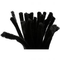 Filo di ciniglia, L: 30 cm, spess. 9 mm, nero, 25 pz/ 1 conf.