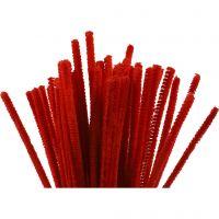 Filo di ciniglia, L: 30 cm, spess. 6 mm, rosso, 50 pz/ 1 conf.