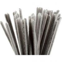 Filo di ciniglia, L: 30 cm, spess. 6 mm, grigio, 50 pz/ 1 conf.