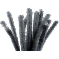 Filo di ciniglia, L: 30 cm, spess. 15 mm, grigio, 15 pz/ 1 conf.