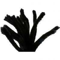 Filo di ciniglia, L: 30 cm, spess. 15 mm, nero, 15 pz/ 1 conf.