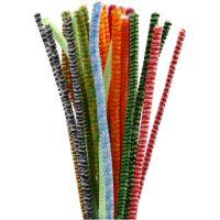 Filo di ciniglia, A strisce, L: 30 cm, spess. 6 mm, colori asst., 30 asst./ 1 conf.