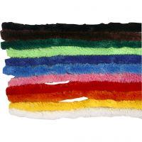 Filo di ciniglia, L: 30 cm, spess. 15 mm, colori asst., 200 asst./ 1 conf.