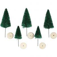 Abeti di Natale, H: 40+60 mm, verde, 5 pz/ 1 conf.