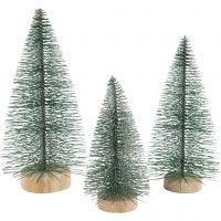 Abeti di Natale, H: 10+13+14 cm, 3 pz/ 1 conf.