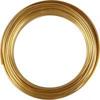 Filo di alluminio, cerchio, spess. 3 mm, oro, 29 m/ 1 rot.