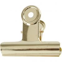 Clip metallica, L: 7,5 cm, ottone, 6 pz/ 1 conf.