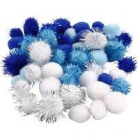 Pompom, diam: 15+20 mm, azzurro, blu scuro, bianco, 48 asst./ 1 conf.