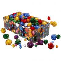 Pom-pom glitter, diam: 15-40 mm, glitter, colori forti, 400 g/ 1 conf.