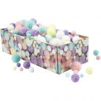 Pom pom, diam: 15-40 mm, glitter, colori pastello, 400 g/ 1 conf.