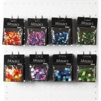 Mini mosaico, misura 5x5+10x10 mm, armonia blu/verde, verde glitter, viola/viola scuro, armonia rosso/arancio, 80 conf./ 1 conf.