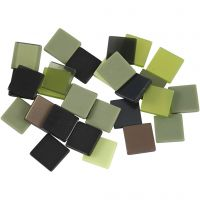 Mini mosaico, misura 10x10 mm, verde glitter, 25 g/ 1 conf.