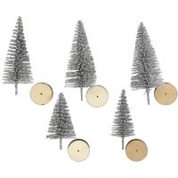 Abeti di Natale, H: 40+60 mm, argento, 5 pz/ 1 conf.