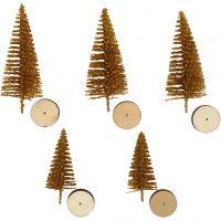 Abeti di Natale, H: 40+60 mm, oro, 5 pz/ 1 conf.