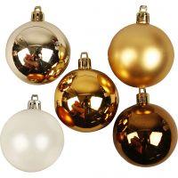 Decorazioni di Natale, diam: 6 cm, dorato, 20 pz/ 1 conf.