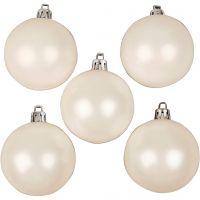 Decorazioni di Natale, diam: 6 cm, bianco, madreperla, 20 pz/ 1 conf.