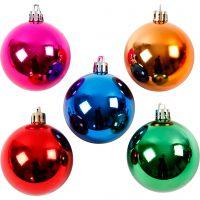 Decorazioni di Natale, diam: 6 cm, colori forti, 20 pz/ 1 conf.