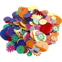 Lustrini, rotondi, misura 10-25 mm, colori asst., 250 g/ 1 conf.