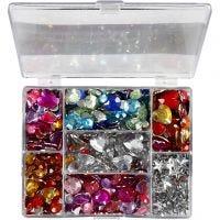 Strass in scatola da esposizione, rotondi, stelle, cuori, diam: 6+7+9+10+11+12+14+16 mm, blu, rosa, argento, 300 pz/ 1 conf.