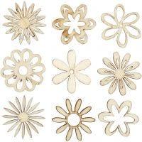 Decorazioni in legno, fiori, misura 28 mm, 45 pz/ 1 conf.