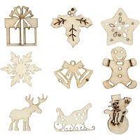 Decorazioni in legno, Natale, misura 28 mm, 45 pz/ 1 conf.