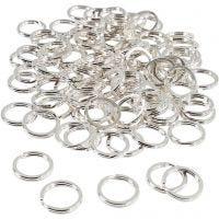 Anello portachiavi, diam: 15 mm, placcato argento, 100 pz/ 1 conf.