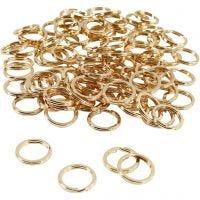 Anello portachiavi, diam: 15 mm, placcato oro, 100 pz/ 1 conf.