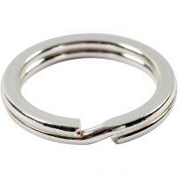 Anello portachiavi, diam: 15 mm, placcato argento, 15 pz/ 1 conf.