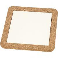 Sottopentola con cornice in sughero, misura 15,5x15,5x1 cm, bianco, 2 pz/ 1 conf.