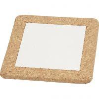 Sottopentola con cornice in sughero, misura 15,5x15,5x1 cm, bianco, 10 pz/ 1 scat.