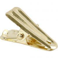 Clip per decorare, L: 27 mm, L: 14 mm, oro, 10 pz/ 1 conf.